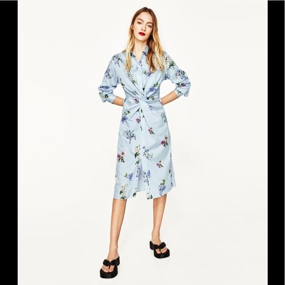 3e603bbf Zara Dresses | Floral Striped Front Knot Shirt Dress Sz Xs | Poshmark
